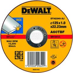 DEWALT DT42340 Kotouč řezný 125x1mm-Řezný kotouč na nerez, plochý 125 x 1 mm