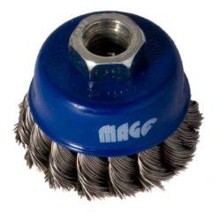 MAGG BL97008N Kartáč hrnkový 80mm vlnitý 0,50 NEREZ M14x2-Kartáč hrnkový 80, copánkový SS 0,50, závit M14x2 - NEREZ
