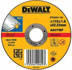 DEWALT DT42241 Kotouč řezný 115x1,6mm-Řezný kotouč na nerez, plochý 115 x 1,6 mm