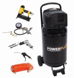 POWER PLUS POWX1751 Kompresor bezolejový 50L 1100W + 9ks přísluš.-Kompresor bezolejový 50L 1100W + 9ks přísluš.