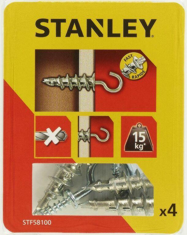 Hmoždinka do sádrokartonu kovová s hákem 39mm SET4 STANLEY STF58100-XJ