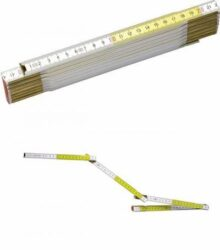 STANLEY 0-35-458 Metr skládací 2m dřevěný bílo-žlutý-Dřevěný skládací metr bílo-žlutý