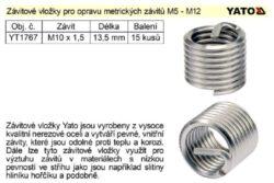 YATO YT-1767 Vložka na opravu závitů M10x1,5x13,5 15ks/bal.
