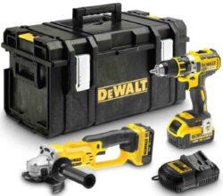 DEWALT DCK253M2 Set nářadí 18V 4,0Ah Li-ion /DCD790 + DCG412/-Aku sada 18V XR 4,0Ah Li-Ion aku vrtačka+bruska+kufr