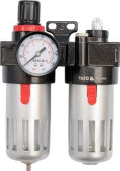 """YATO YT-2385 Regulátor tlaku s filtrem 1/4""""  0,93MPa (90ccm) a přimazáváním-Regulátor tlaku vzduchu s odlučovačem vody a přimazáváním oleje"""