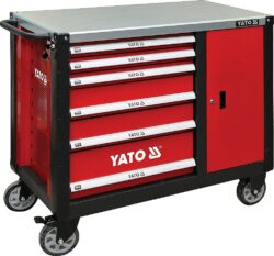 YATO YT-09002 Skříňka dílenská pojízdná 6 zásuvek +zavírací skříň červená-Skříňka dílenská pojízdná 6 zásuvek +zavírací skříň červená